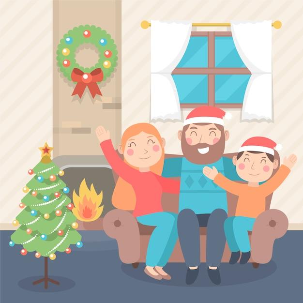 Concept De Scène De Famille De Noël Au Design Plat Vecteur gratuit