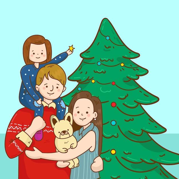 Concept de scène de famille de noël dessiné à la main Vecteur gratuit