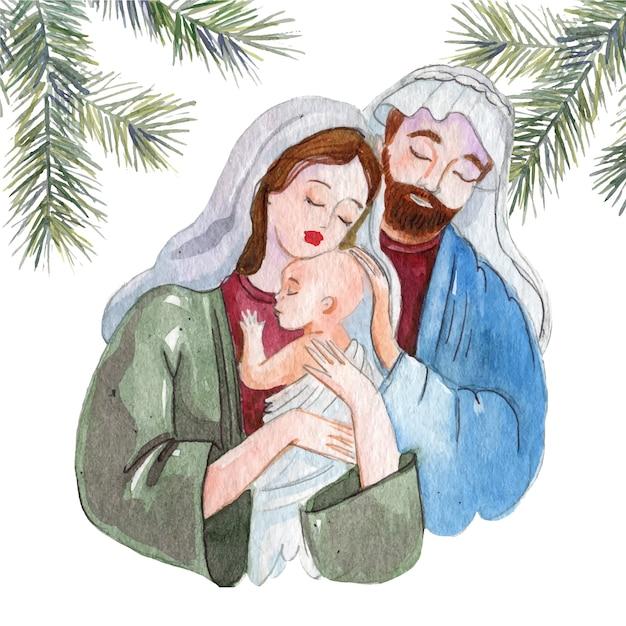 Concept De Scène De La Nativité à L'aquarelle Vecteur gratuit