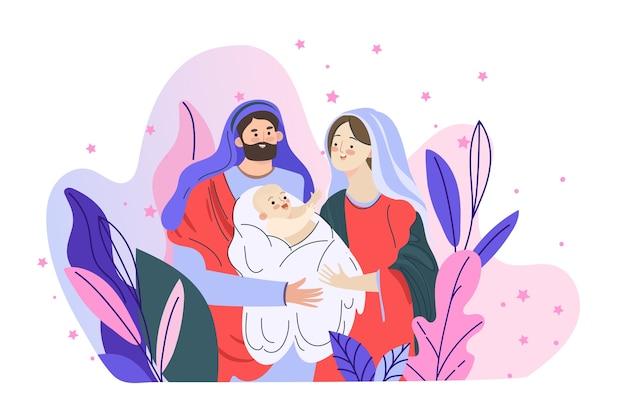 Concept De Scène De La Nativité Dans Dessinés Vecteur gratuit