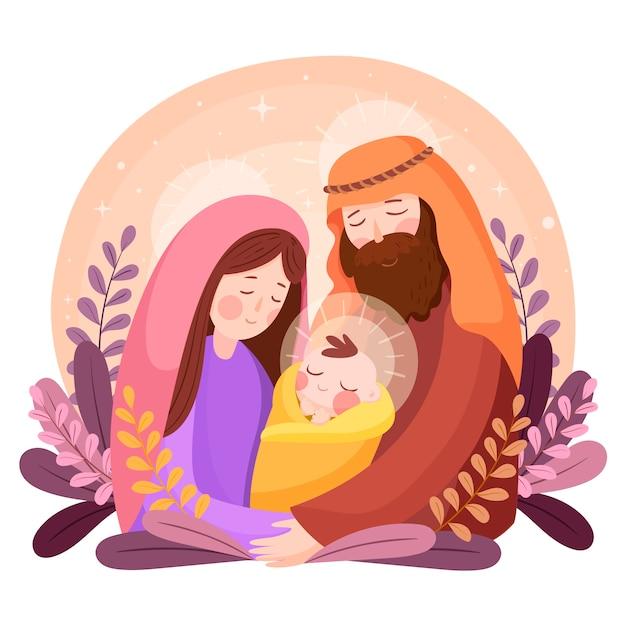 Concept De Scène De Nativité Dessiné à La Main Vecteur gratuit