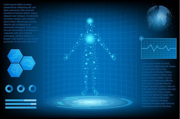 Concept de science abstrait technologie futuriste Vecteur Premium