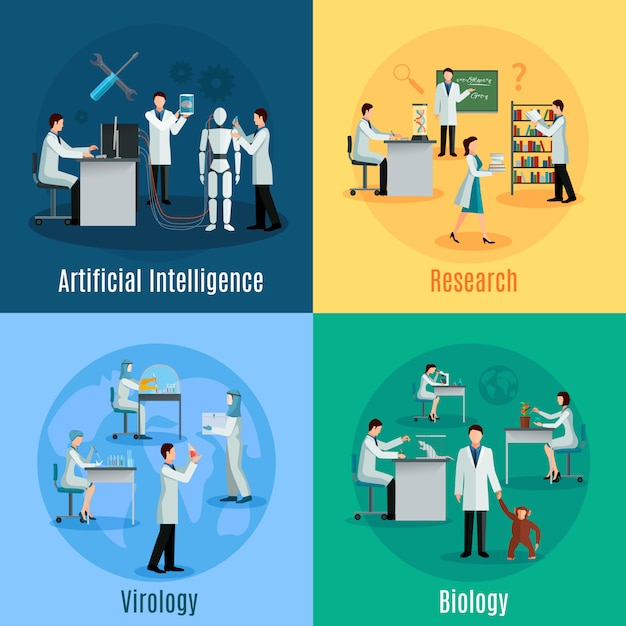 Concept scientifique établi avec des chercheurs dans le domaine de la biologie virologie et de l'intelligence artificielle Vecteur gratuit