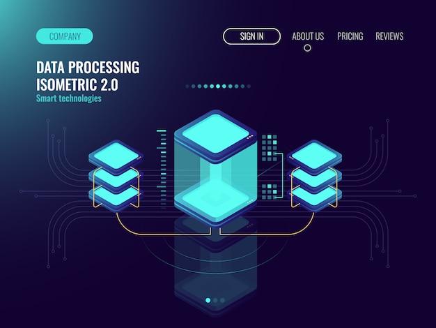 Concept scientifique numérique, salle des serveurs, stockage en nuage, échange de données, mémoire informatique Vecteur gratuit