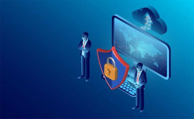 Concept de sécurité des données et bannière de protection de la vie privée Vecteur Premium