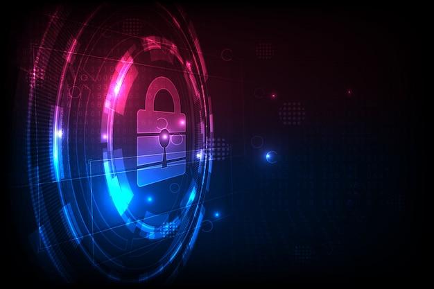 Concept De Sécurité Technologique. Fond Numérique De Sécurité Moderne. Système De Protection. Vecteur Premium