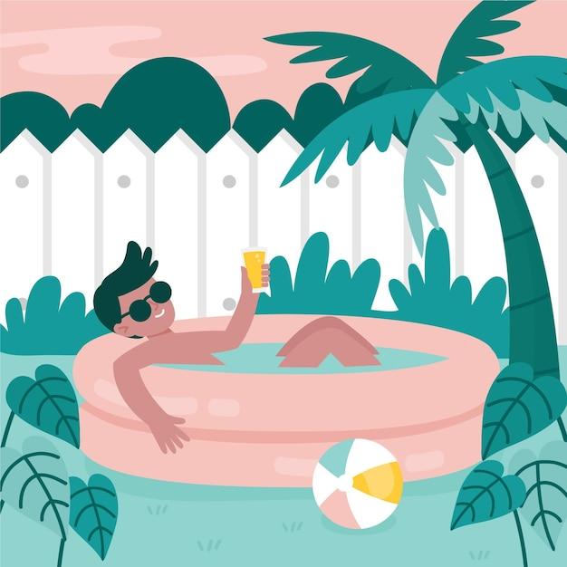 Concept De Séjour Piscine Jardin Vecteur gratuit