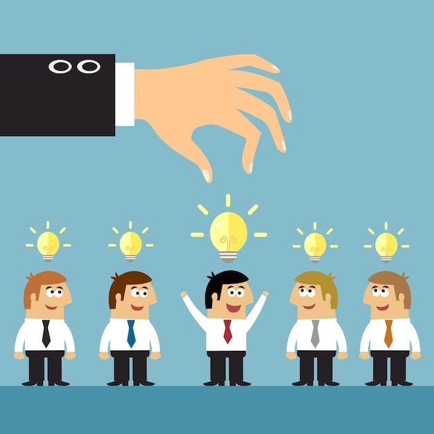 Concept de sélection d'idées d'affaires Vecteur Premium