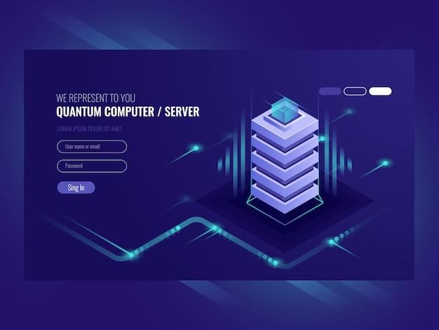 Concept de serveur de blockchain, ordinateur quantique, salle des serveurs, base de données Vecteur gratuit