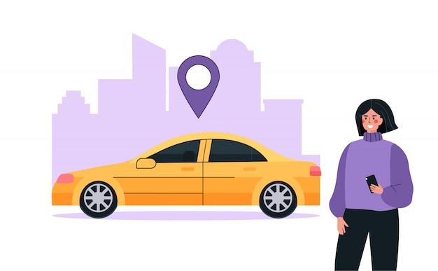 Concept De Service D'autopartage Ou De Location De Voitures Moderne. Une Femme Utilise Une Application Mobile Pour Rechercher Une Voiture Sur Une Carte. Vecteur Premium
