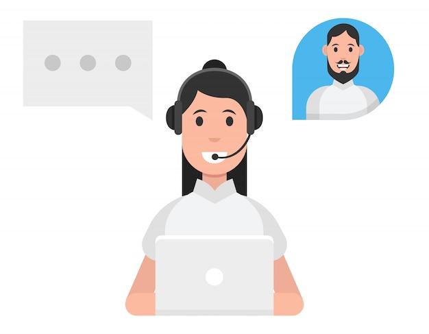 Concept De Service De Centre D'appels. Femme, Porter, écouteurs Vecteur Premium