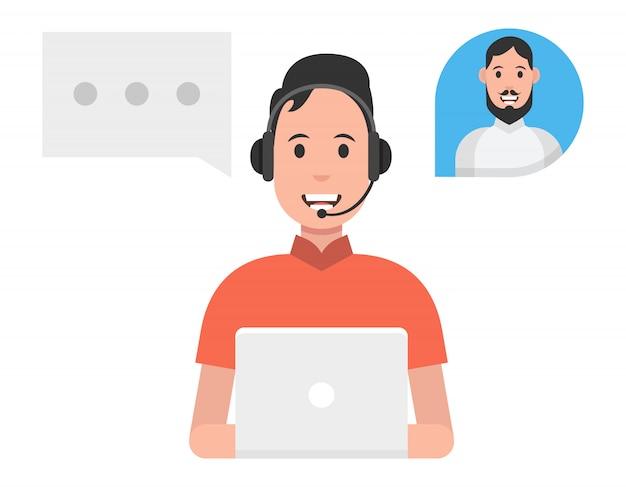 Concept De Service De Centre D'appels. Homme Portant Des Casques D'écoute Vecteur Premium