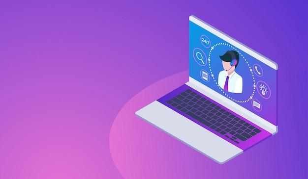 Concept de service client ou hotline avec ordinateur portable, centre d'appels 24h. Vecteur Premium