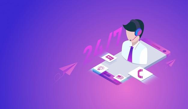 Concept de service client ou hotline avec smartphone, centre d'appels 24h. Vecteur Premium