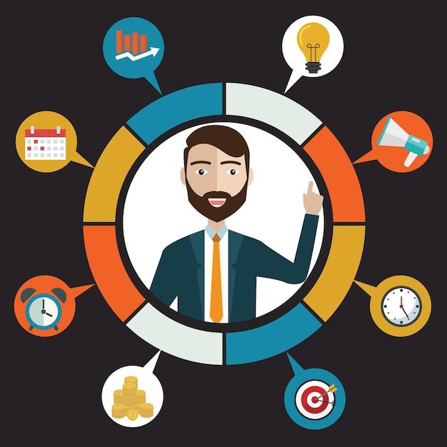 Concept de service à la clientèle vectoriel et concept d'entreprise - icônes et éléments de conception infographique. Vecteur Premium