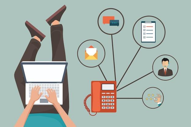 Concept de service clientèle Vecteur Premium