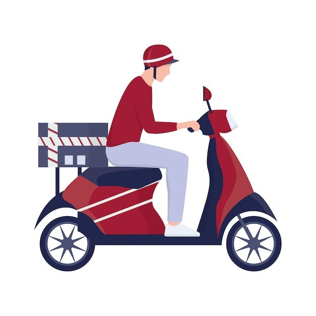 Concept De Service De Livraison. Courrier Avec Boîte Sur Cyclomoteur. Personne En Uniforme Sur Scooter. Illustration Vecteur Premium