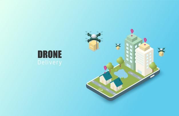 Concept De Service De Livraison En Ligne. Isométrique. Suivi De Commande Mobile. Livraison De Drones à Destination. Logistique Urbaine En Ligne. Livraison Sur Smartphone. Vecteur Premium