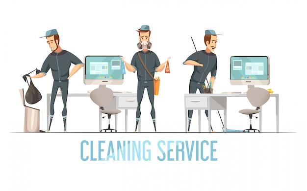 Concept de service de nettoyage avec un homme en uniforme qui enlève les déchets, nettoie et désinfecte les locaux Vecteur gratuit