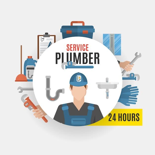 Concept de service de plombier Vecteur gratuit
