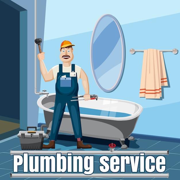 Concept de service de réparation plombier. illustration de dessin animé du service de réparation de plombier Vecteur Premium