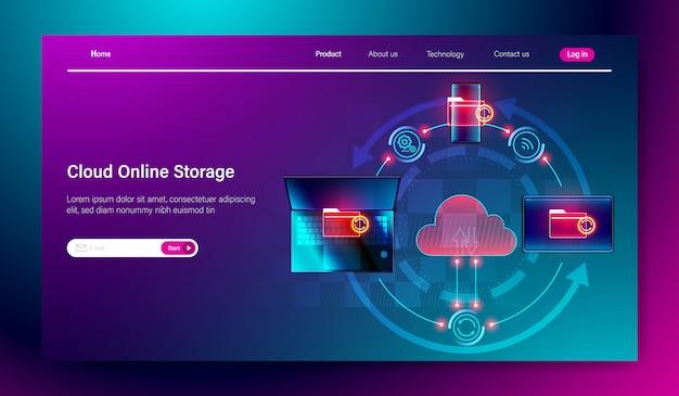 Concept de service de stockage en ligne sur le cloud Vecteur Premium