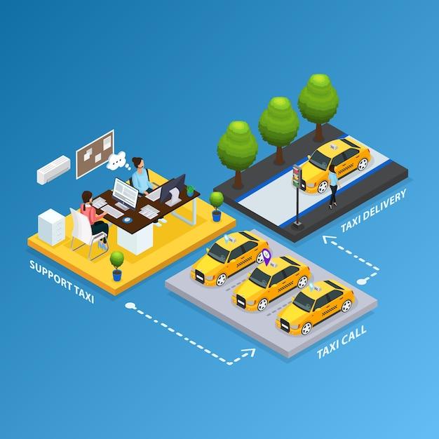 Concept De Service De Taxi De Soutien Isométrique Vecteur gratuit