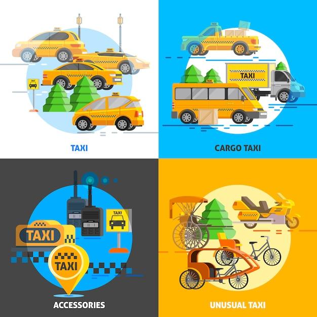 Concept de service de taxi Vecteur gratuit