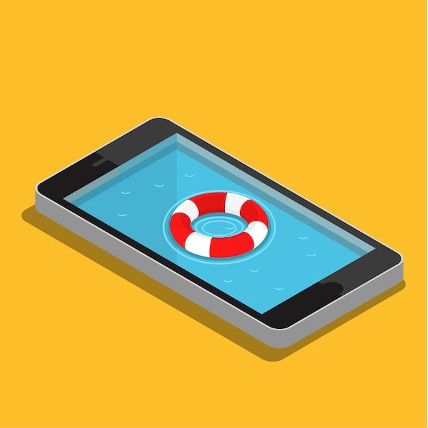 Concept De Service D'urgence Mobile Vecteur Premium