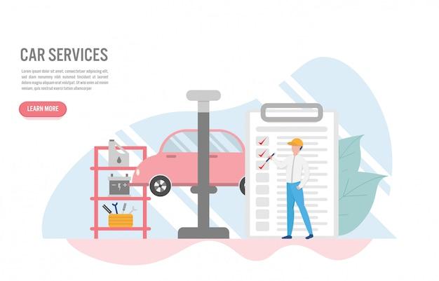 Concept de service de voiture avec caractère au design plat Vecteur Premium