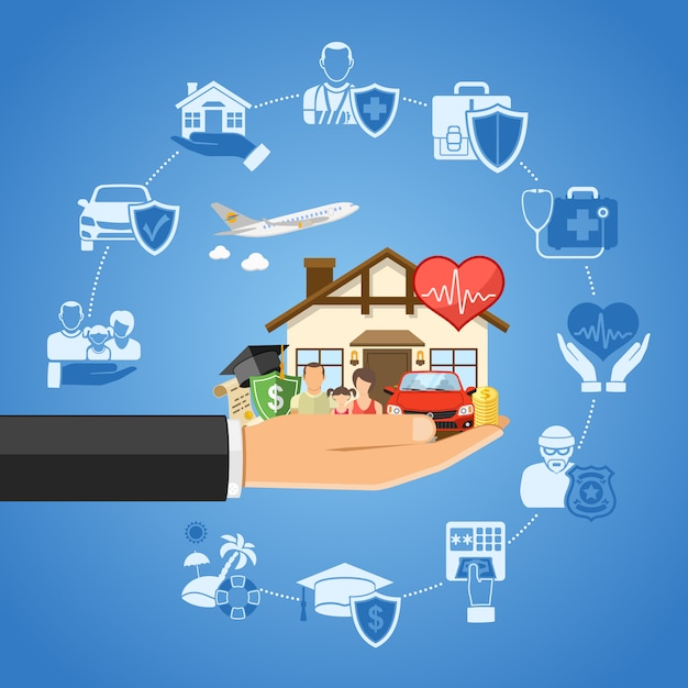 Concept de services d'assurance Vecteur Premium