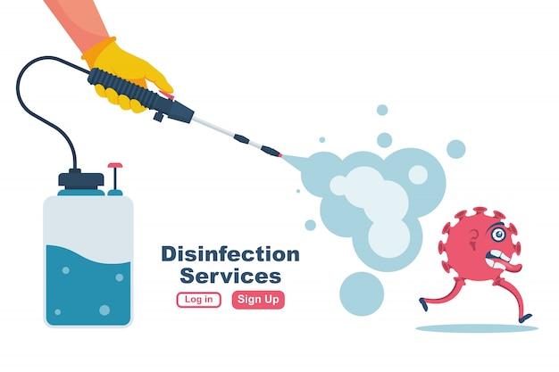 Concept De Services De Désinfection. Prévention Contrôlant Le Vecteur épidémique Vecteur Premium
