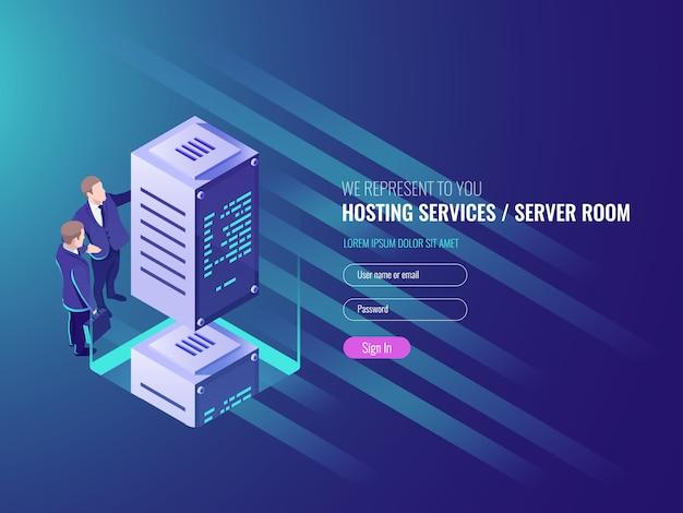 Concept de services d'hébergement, composition isométrique de crypto-monnaie et blockchain Vecteur gratuit
