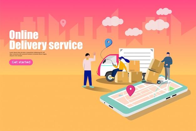 Concept de services de livraison en ligne Vecteur Premium
