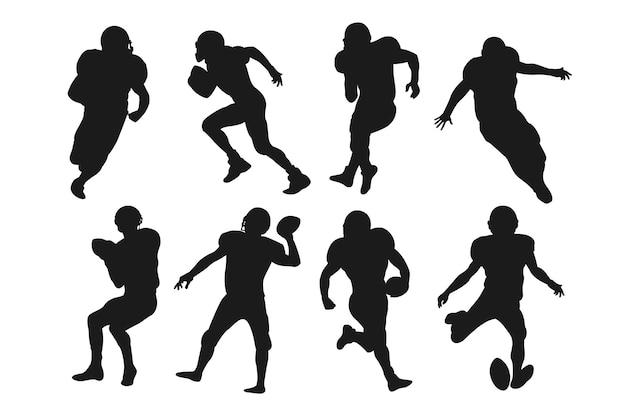 Concept De Silhouettes De Football Américain Vecteur Premium
