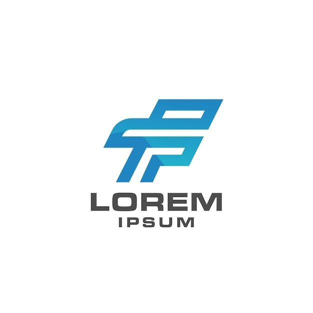 Concept simple lettre f logo icône modèle avec la couleur bleue Vecteur Premium