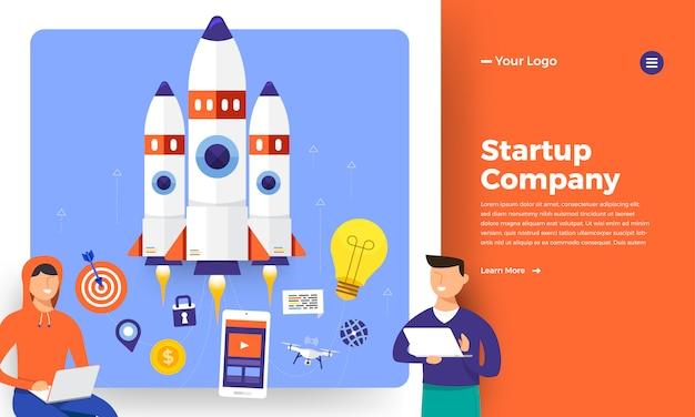 Concept De Site Web Stratup Rocket Montée De L'ordinateur. Illustration. Vecteur Premium