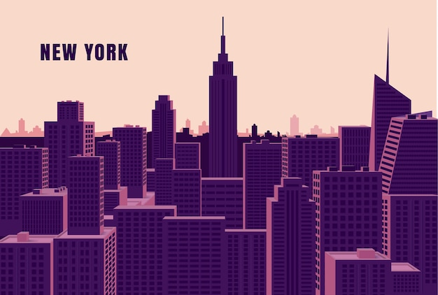 Concept De Skyline De New York Vecteur Premium
