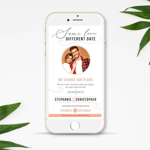 Concept De Smartphone D'annonce De Mariage Reporté Vecteur Premium