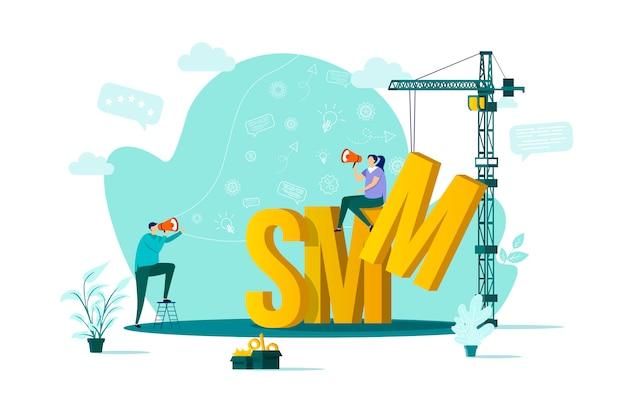 Concept Smm Dans Le Style Avec Des Personnages En Situation Vecteur Premium