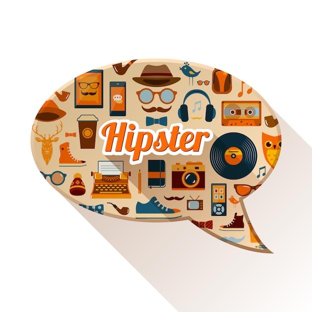 Concept social de hipster Vecteur Premium