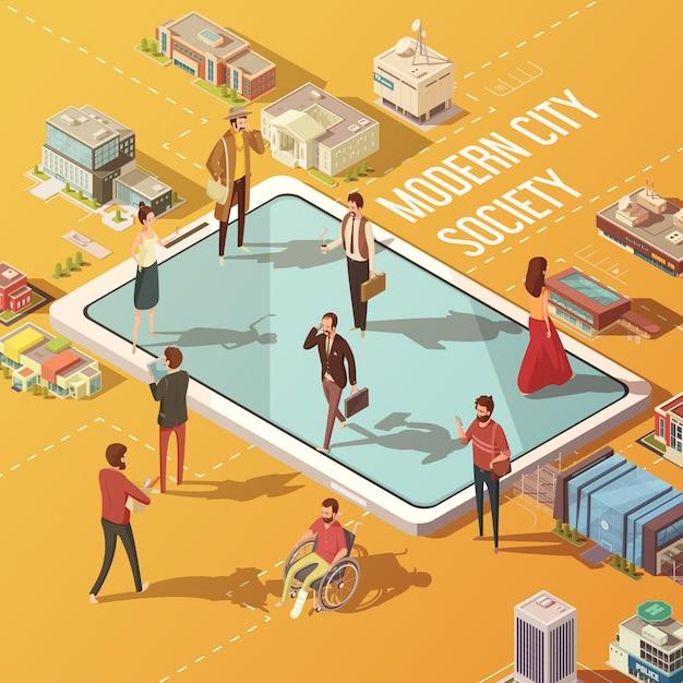 Concept de société de ville moderne avec des personnes communiquant via l'illustration vectorielle isométrique d'internet Vecteur gratuit