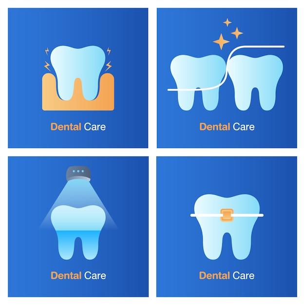 Concept de soins dentaires. prévention, bilan et traitement dentaire. Vecteur Premium