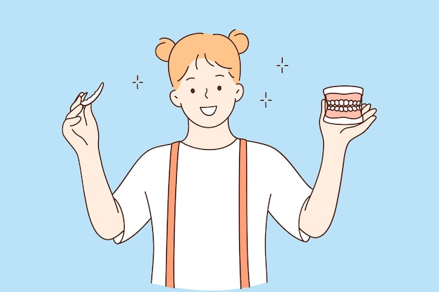 Concept De Soins Dentaires Et De Santé Des Dents Vecteur Premium