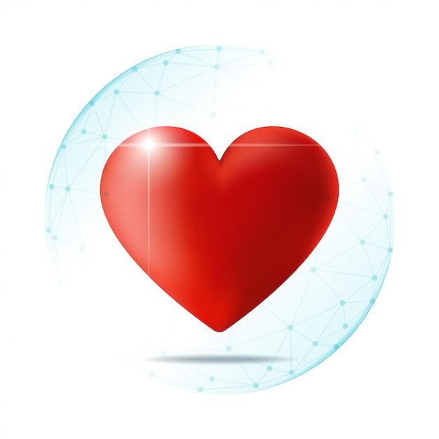Concept de soins de santé avec coeur rouge protégé dans le bouclier de la sphère polygonale Vecteur Premium