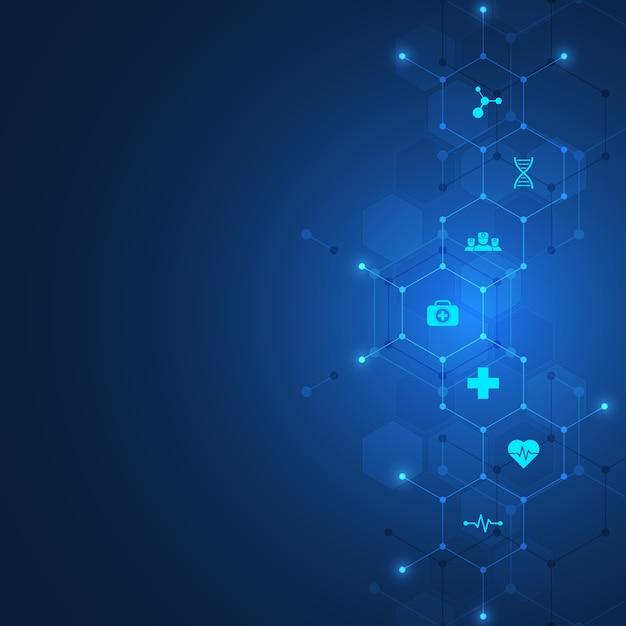 Concept De Soins De Santé Et De Technologie Avec Des Icônes Et Des Symboles. Vecteur Premium