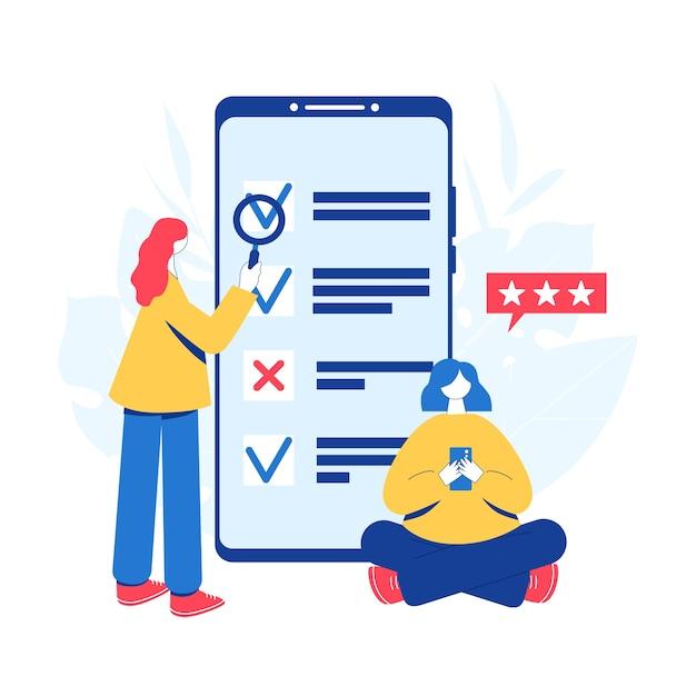 Concept De Sondage En Ligne. Les Femmes Qui Suivent L'enquête Et Examinent La Liste De Contrôle Des Résultats Sur L'écran Du Smartphone. Vecteur Premium