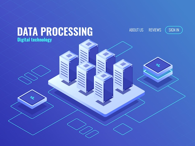 Concept de stockage de données volumineuses et icône isométrique de secours, base de données de la salle des serveurs et centre de données Vecteur gratuit