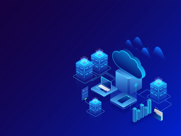 Concept de stockage de données. Vecteur Premium
