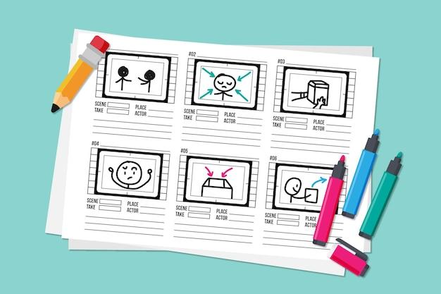 Concept De Storyboard Avec Crayon Et Surligneurs Vecteur gratuit